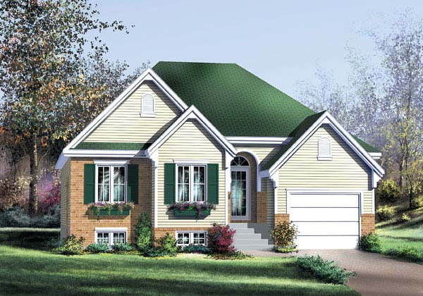 European House Plan 49599 with 2 Beds, 2 Baths, 1 Car Garage Elevation