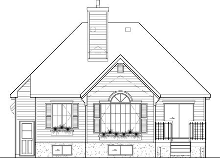 European House Plan 49599 with 2 Beds, 2 Baths, 1 Car Garage Rear Elevation