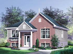 House Plan 49605 | Colonial Style Plan with 1072 Sq Ft, 2 Bedrooms, 1 Bathrooms Elevation