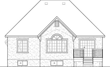 European House Plan 49607 Rear Elevation