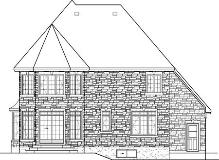 European House Plan 49608 Rear Elevation