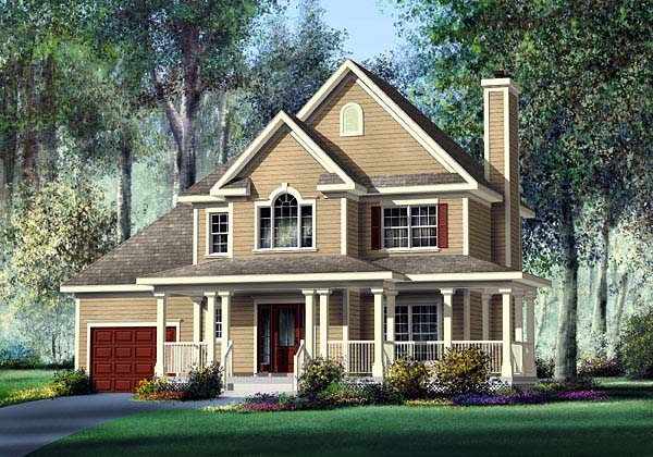 Country House Plan 49611 with 3 Beds, 3 Baths, 1 Car Garage Elevation