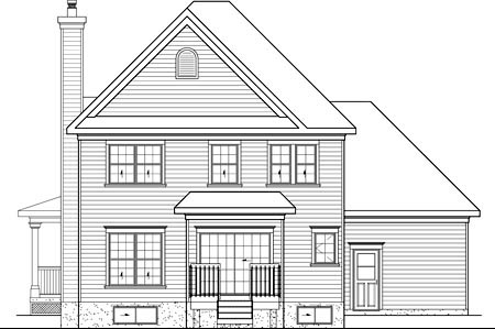 Country House Plan 49611 with 3 Beds, 3 Baths, 1 Car Garage Rear Elevation