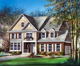 House Plan 49612 with 4 Beds, 3 Baths, 2 Car Garage Elevation