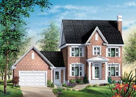 Colonial House Plan 49619 with 3 Beds, 2 Baths, 2 Car Garage Elevation