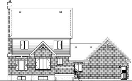 Colonial Rear Elevation of Plan 49619