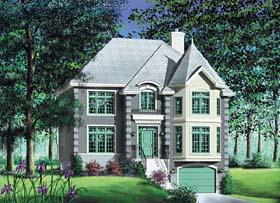 European, Narrow Lot House Plan 49620 with 4 Beds, 3 Baths, 1 Car Garage