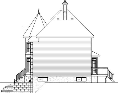 European House Plan 49620 Rear Elevation