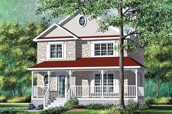 Country Narrow Lot Elevation of Plan 49622