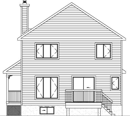 Country Narrow Lot Rear Elevation of Plan 49622