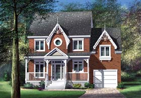 House Plan 49623 | Style Plan with 1566 Sq Ft, 3 Bedrooms, 2 Bathrooms, 1 Car Garage Elevation