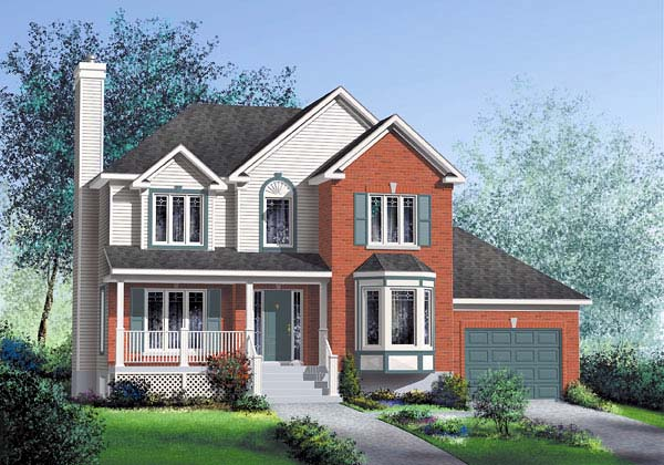 Traditional House Plan 49624 with 3 Beds, 2 Baths, 1 Car Garage Elevation