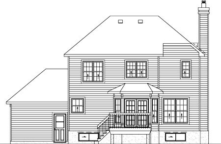 Traditional House Plan 49624 with 3 Beds, 2 Baths, 1 Car Garage Rear Elevation