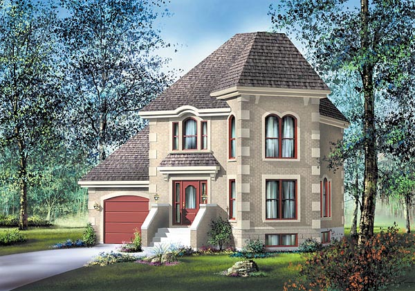 Contemporary, European House Plan 49626 with 3 Beds, 2 Baths, 1 Car Garage Front Elevation