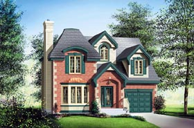 House Plan 49630 | Victorian Style Plan with 1915 Sq Ft, 3 Bed, 2 Bath, 1 Car Garage Elevation