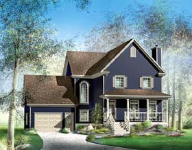 House Plan 49632 | Country Style Plan with 2216 Sq Ft, 3 Bedrooms, 3 Bathrooms, 1 Car Garage Elevation