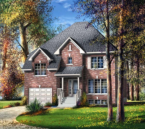 Narrow Lot House Plan 49634 with 3 Beds, 2 Baths, 1 Car Garage Elevation