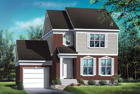 House Plan 49636 | Colonial Style Plan with 1392 Sq Ft, 3 Bedrooms, 2 Bathrooms, 1 Car Garage Elevation