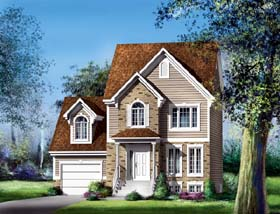 Colonial , Narrow Lot House Plan 49637 with 3 Beds, 2 Baths, 1 Car Garage Elevation