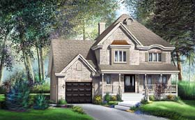 House Plan 49638 | Tudor Style Plan with 2148 Sq Ft, 3 Bedrooms, 2 Bathrooms, 1 Car Garage Elevation