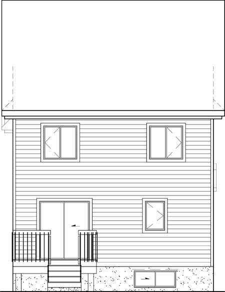 Traditional , Rear Elevation of Plan 49646