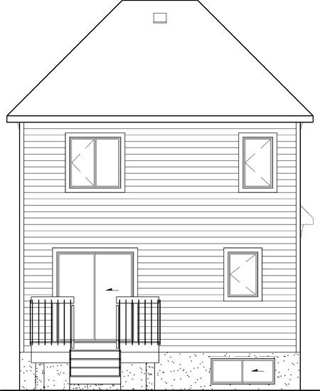 Craftsman House Plan 49651 with 2 Beds, 2 Baths, 1 Car Garage Rear Elevation