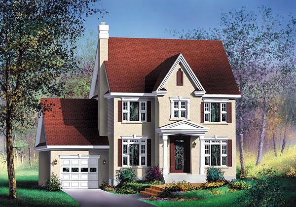 Colonial House Plan 49653 with 3 Beds, 2 Baths, 1 Car Garage Elevation
