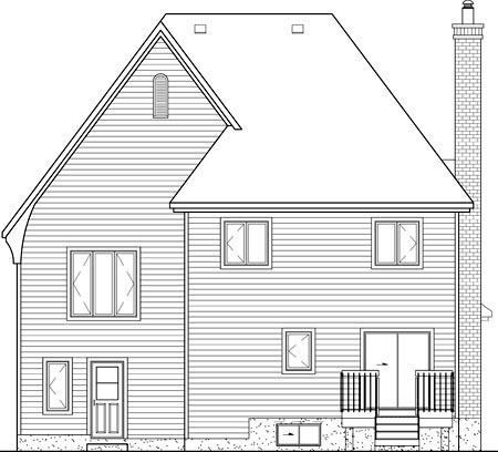 European House Plan 49655 Rear Elevation