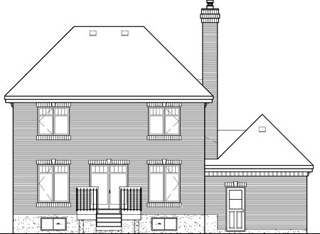 Colonial House Plan 49656 Rear Elevation