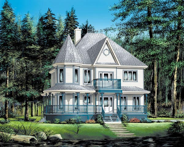 Country Farmhouse Victorian House Plan 49660 Elevation