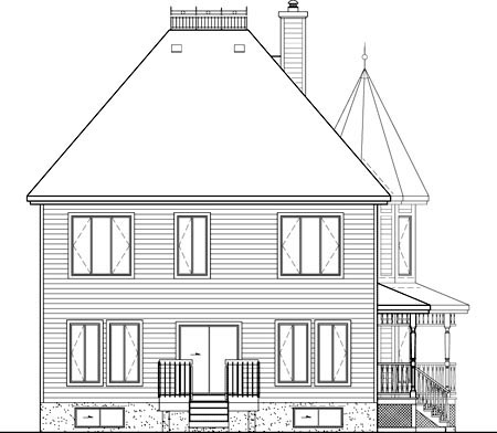 Country , Farmhouse , Victorian , Rear Elevation of Plan 49660