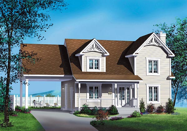 House Plan 49663 | Southern Style Plan with 1621 Sq Ft, 3 Bedrooms, 3 Bathrooms, 1 Car Garage Elevation