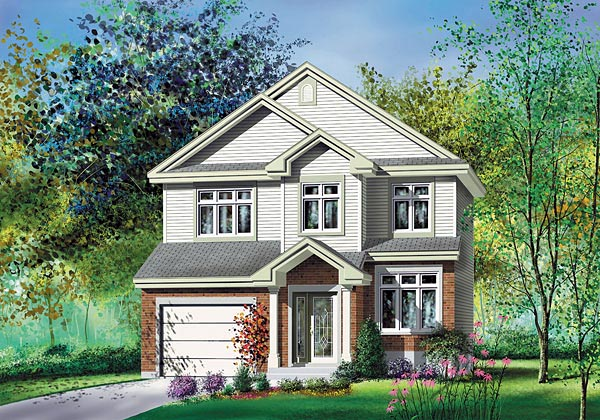 House Plan 49664 | Traditional Style Plan with 1591 Sq Ft, 3 Bedrooms, 2 Bathrooms, 1 Car Garage Elevation
