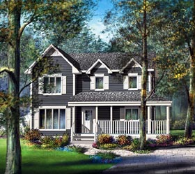 Country House Plan 49666 with 3 Beds, 2 Baths, 1 Car Garage Elevation