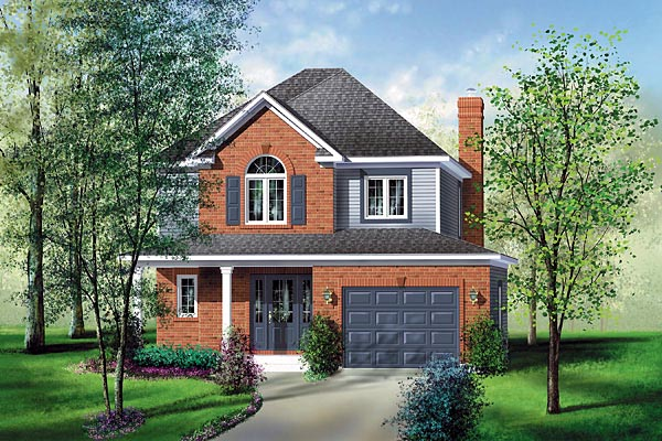 House Plan 49670 | European Style House Plan with 1570 Sq Ft, 3 Bed, 2 Bath, 1 Car Garage Elevation
