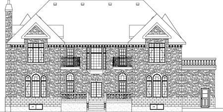 European House Plan 49671 Rear Elevation