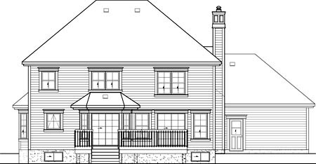 Colonial House Plan 49672 Rear Elevation