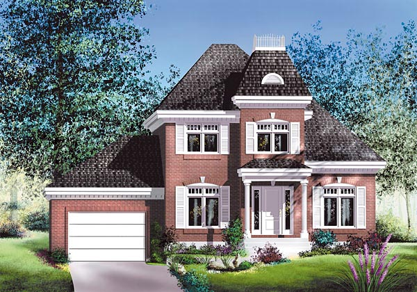 House Plan 49682 | Victorian Style House Plan with 1540 Sq Ft, 2 Bed, 2 Bath, 1 Car Garage Elevation