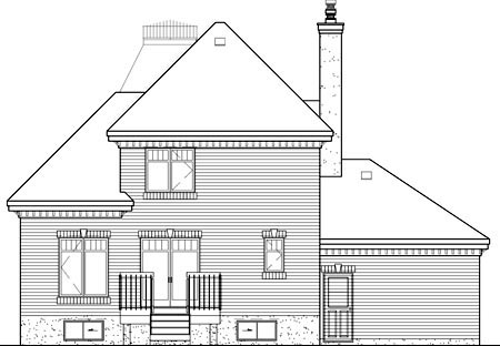 House Plan 49682 | Victorian Style House Plan with 1540 Sq Ft, 2 Bed, 2 Bath, 1 Car Garage Rear Elevation