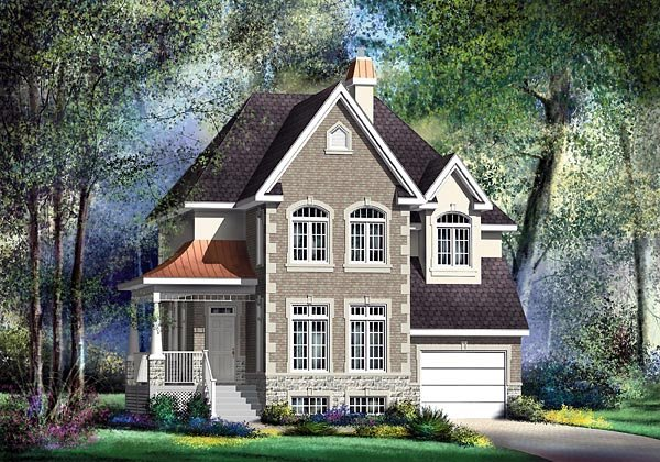 Narrow Lot, Victorian House Plan 49683 with 3 Beds, 2 Baths, 1 Car Garage Elevation