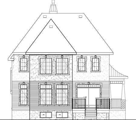 Narrow Lot, Victorian House Plan 49683 with 3 Beds, 2 Baths, 1 Car Garage Rear Elevation