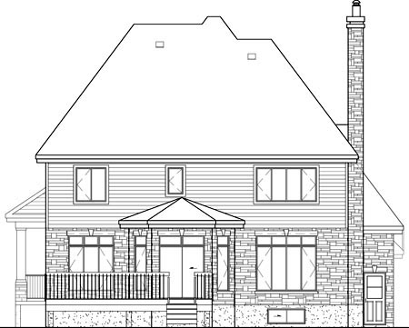 European House Plan 49685 Rear Elevation