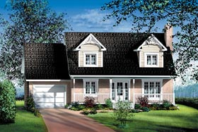 Cape Cod House Plan 49687 with 4 Beds, 2 Baths, 1 Car Garage Elevation