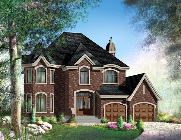 Victorian House Plan 49692 with 3 Beds, 3 Baths, 2 Car Garage Elevation