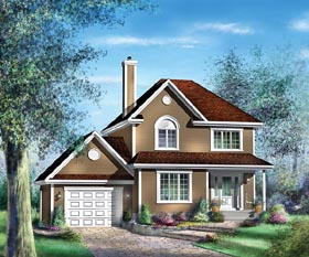 European House Plan 49694 with 3 Beds, 2 Baths, 1 Car Garage Elevation