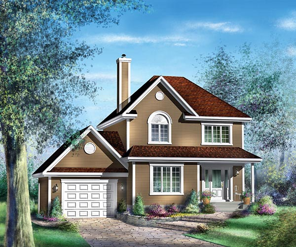 European House Plan 49694 with 3 Beds, 2 Baths, 1 Car Garage Elevation