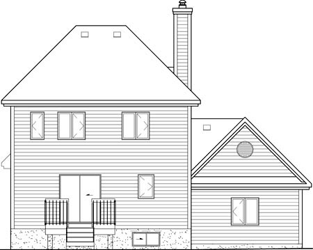 European House Plan 49694 with 3 Beds, 2 Baths, 1 Car Garage Rear Elevation
