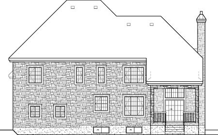 European House Plan 49696 Rear Elevation