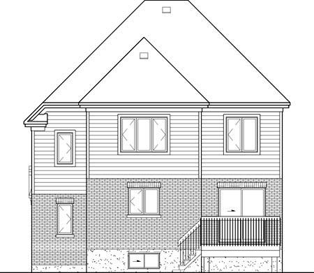 European House Plan 49697 Rear Elevation