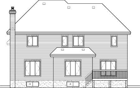 European House Plan 49698 Rear Elevation